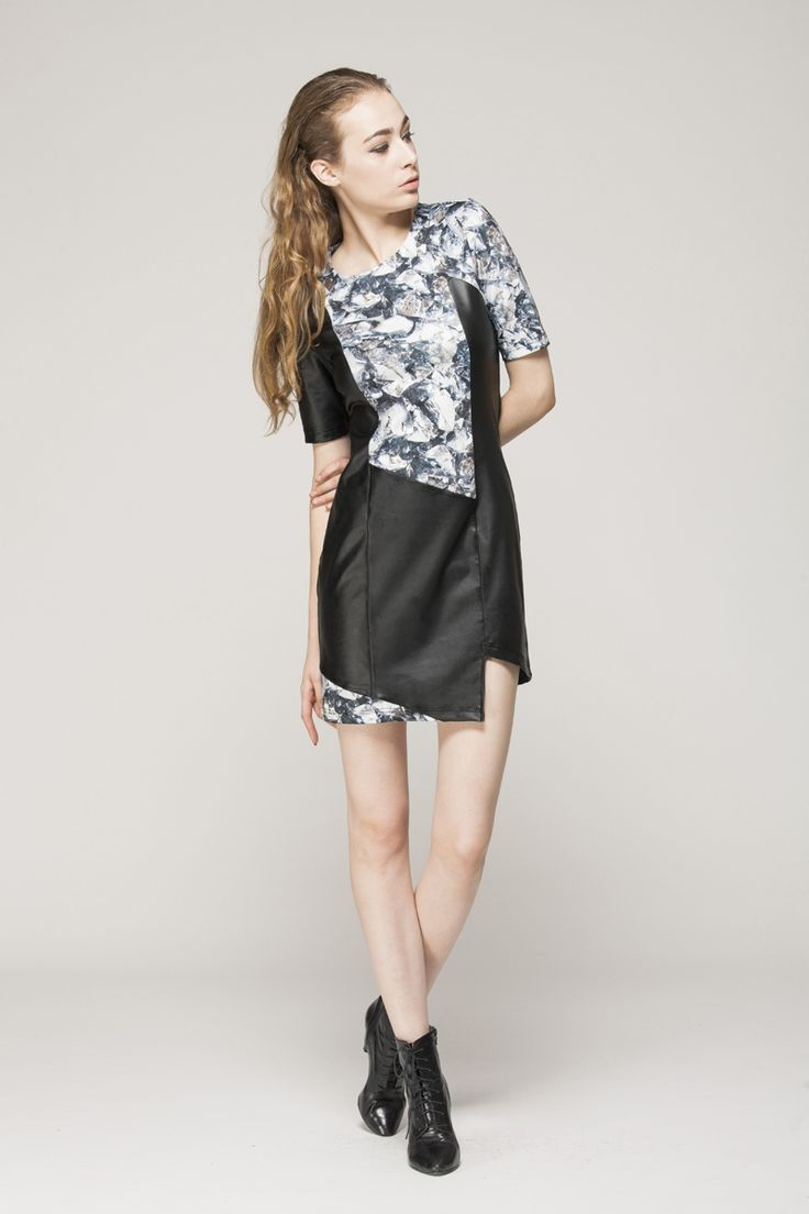 Leather look dress with material print - FrontRowShop