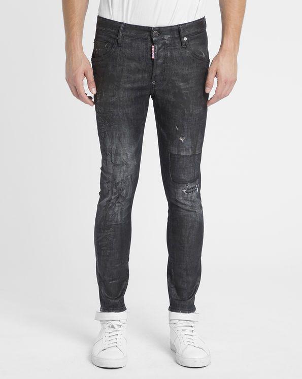 Jeans Skater Fit Print Enduit Denim Anthracite DSQUARED2 prix Jeans Homme…