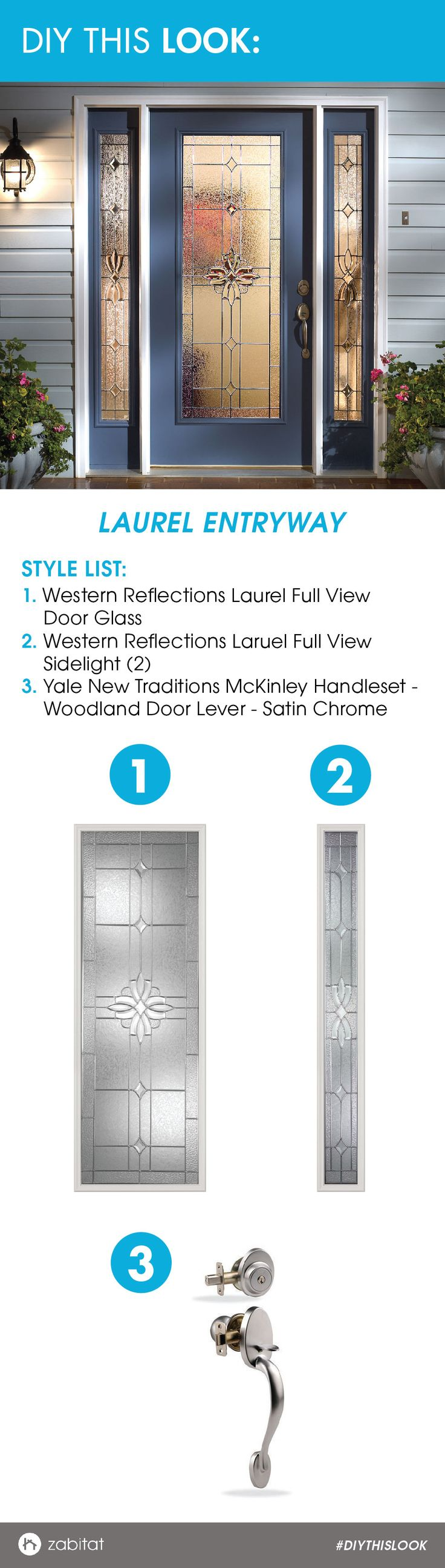 Western Reflections Laurel Door Glass Inserts paired with a Yale Satin Chrome Handleset