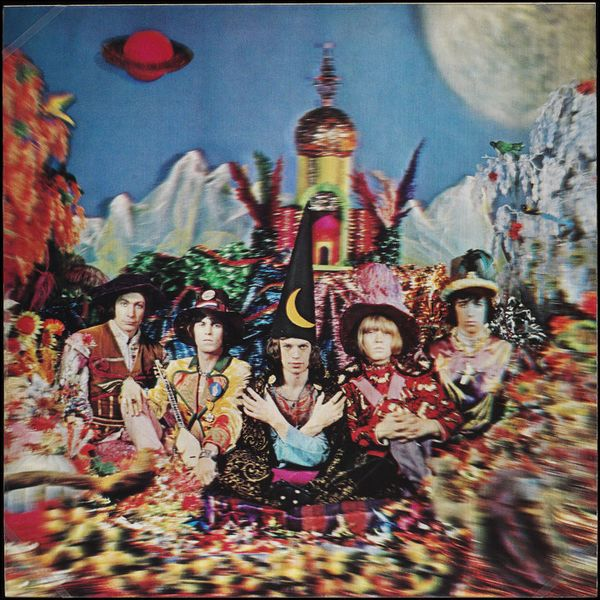 """Michael Cooper, original artwork for Their Satanic Majesties Request by the Rolling Stones, 1967.  """" Cooper had been asked to surpass Peter Blake's Sgt. Pepper cover photograph. Innovative was the use of transforming lenticular printing, revealing two..."""