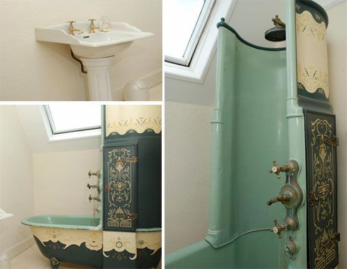 Amazing Mint Victorian Shower Bath With Decorated Outside