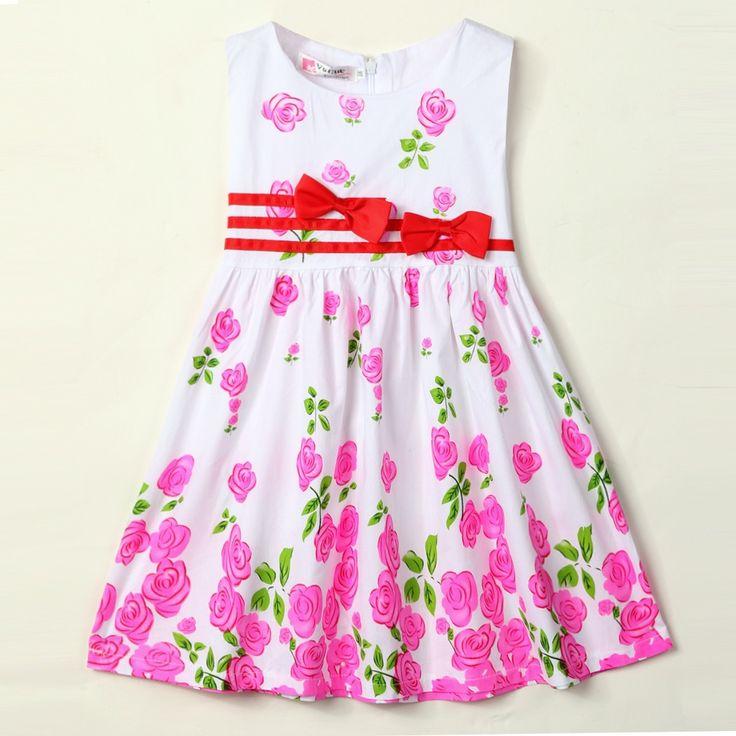 New Kids Girls O-neck Sleeveless Floral Bow-knot Tank Dresses