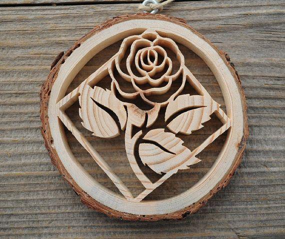 Ornement rose tranche bois sapin de no l ornement par djsnature pinterest - Variete de sapin d ornement ...