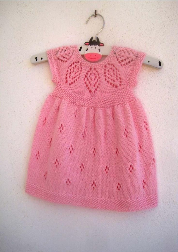 """Isla Dress. Pretty and sophisticated with a gorgeous lace yoke. Knit in the round from the top down, comes in 7 sizes from Preemie to 6-year-old girl (to fit 12"""" - 24"""" Chest). This gorgeous pattern comes with the instructions to knit the cap sleeved, short sleeved and long sleeved versions making this pattern excellent value for money!"""