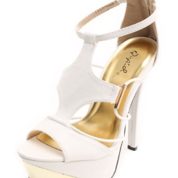 "White and gold sandal heels White and gold sandal heels. NIB. Ordered online didn't realize the heel is 6.5"" and its a little high for me. Very pretty. True to size. No trades or PayPal. Qupid Shoes Heels"