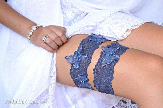 Lace Wedding Garter Dark Blue Garter Set White Bridal Garter With BlueButterfly Appliques and Blue Pearls - Handmade Wedding Accessories