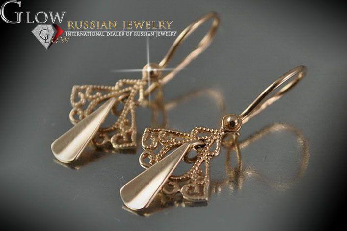 vens127 Org. Russian rose Soviet gold HANDCRAFT Earrings UNIQUE!