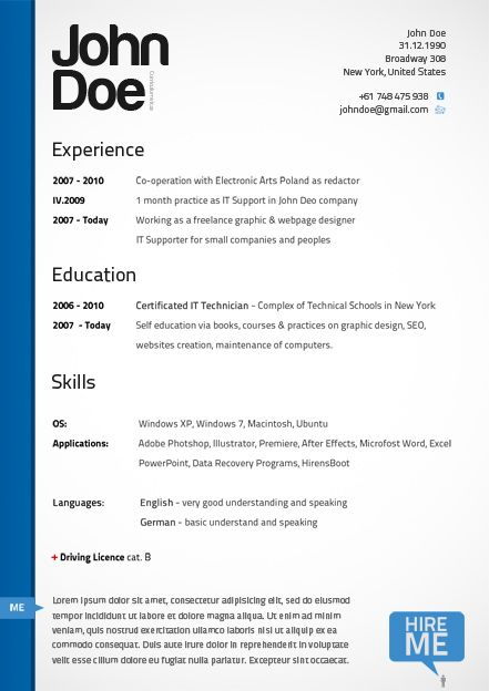39 best Photoshop Resume Templates images on Pinterest Resume - free professional resume templates
