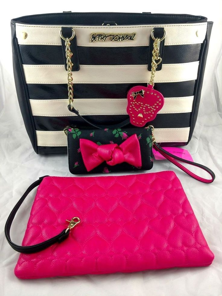 Betsey Johnson 4pc Set Pink Skull Bow Wallet Heart Clutch Wristlet Shoulder Bag #BetseyJohnson #ClutchShoulderBagToteWristlet