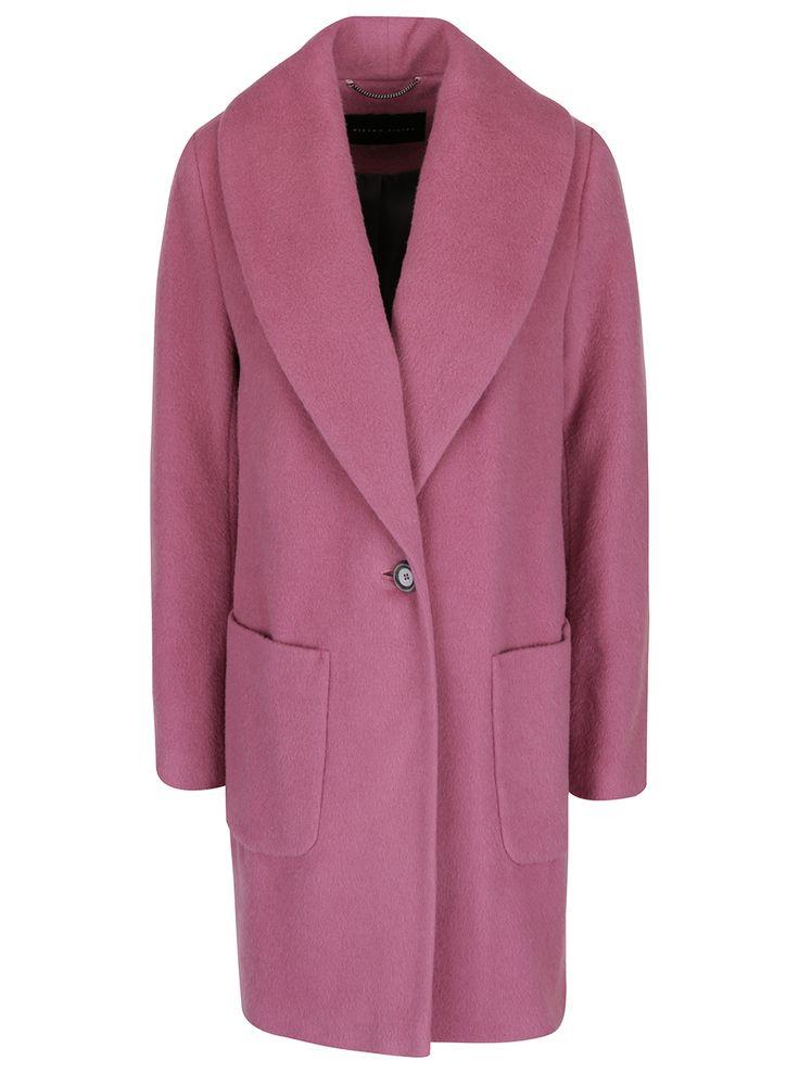 Růžový dámský vlněný kabát Pietro Filipi