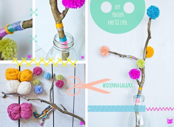 DIY spring pompom branch #pompom www.facebook.com/loflov