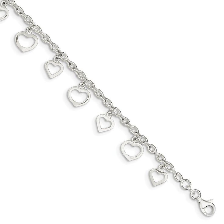 Sterling Silver 9in 9' Polished Heart Anklet ** You can get more details by clicking on the image. (This is an Amazon Affiliate link and I receive a commission for the sales)
