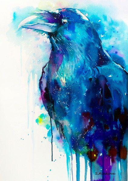 Raven watercolor painting print crow bird wildlife por SlaviART