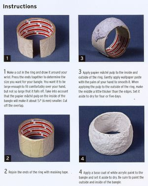 Papier mache Bangle with a tape roll core