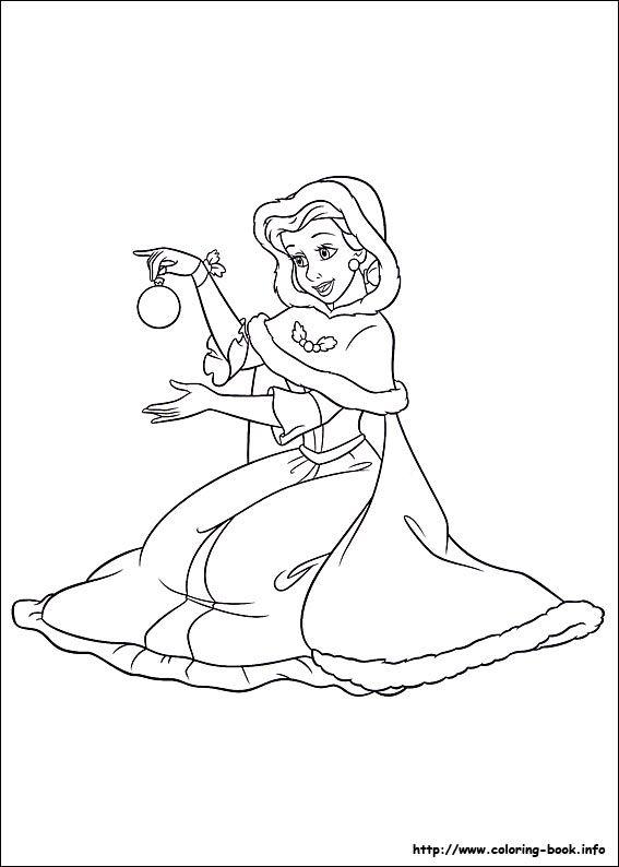 Christmas Disney Princesses Coloring Pages