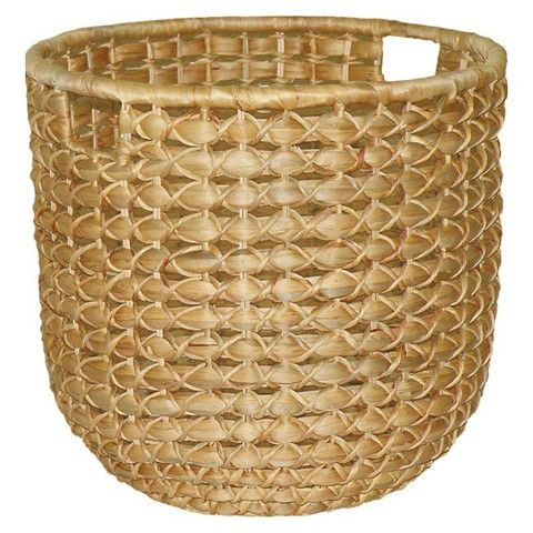 Threshold™ Lg Round Water Hyacinth Basket - this or something similar from HomeGoods to hold fig tree - and make sure to use a liner at the bottom