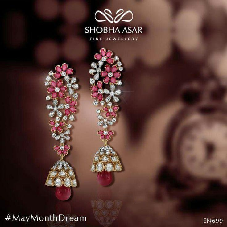 Earrings diamond ruby