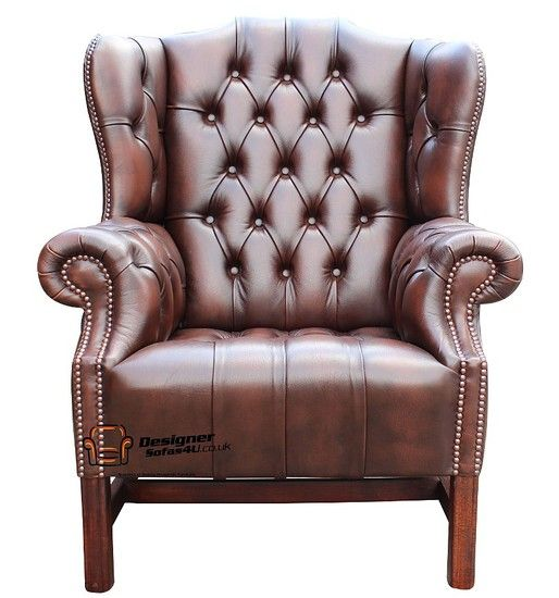 Alec's Chesterfield Churchill High Back Wing Chair UK Manufactured Antique Brown, Leather Sofas, Traditional Sofas