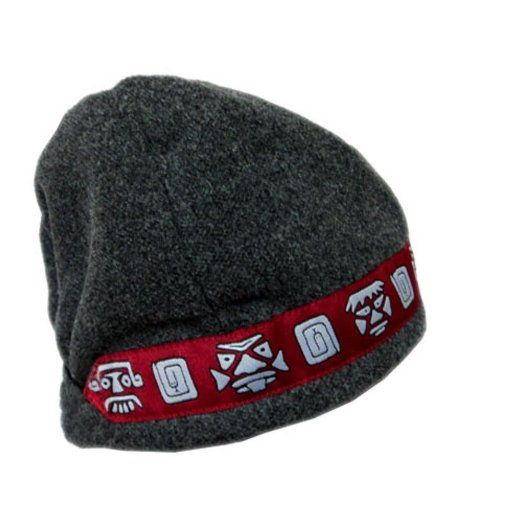Shred Alert Gear Gray with Red Aztec Faces One Size Knit Polyester Hat Beanie