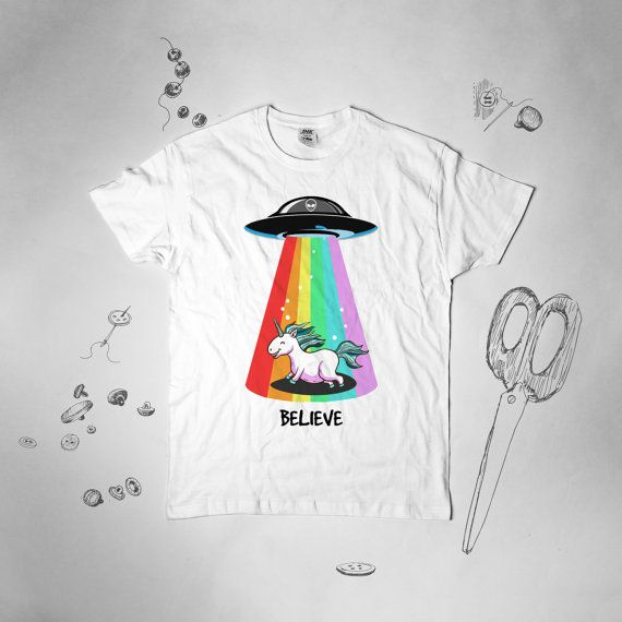 Quiero creer camiseta unicornio camiseta divertida camiseta UFO camiseta Alien x-files camisa nave espacial Tee Alien televisivo camiseta divertida camiseta Unisex054