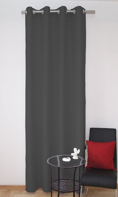 Dekorační závěsy tmavě šedé barvy s kruhovým zavěšením