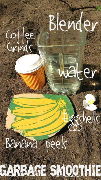 Supplies and Ingredients:  Blender  Banana peels  Egg shells  Coffee grinds and residue  Water  The Process:  Put all of the ingredients into your blender and blend for 1-3 minutes. You can play around with the amounts of each ingredient as you see fit, but this mix is pretty forgiving. Just throw in however much you already have of each. For the water, fill it up until it's thin enough for you to pour easily.  How to Use it:  Dump your garbage smoothie into a water can (or an alternate DIY…