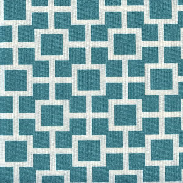 This is a fun teal blue and white geometric print indoor outdoor fabric…