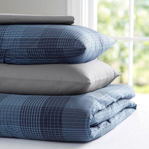 PB Teen Branson Plaid Deluxe Value Duvet Set, XL Twin, Navy at Pottery... ($286) ❤ liked on Polyvore featuring home, bed & bath, bedding, extra long twin bed set, pbteen bedding, twin xl bedding sets, twin xl bed set and twin bedding sets
