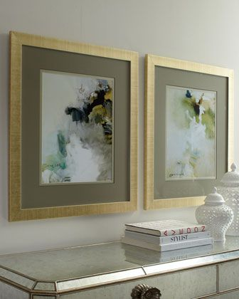 Two Overjoyed Abstract Giclees at #Horchow. I would hang these pieces on either side of the Jerilynn Buffet - outside the melrose lamps as anchors - cementing the symmetrical feel that I would love to have on that side of the living room. Symmetry & Balance.