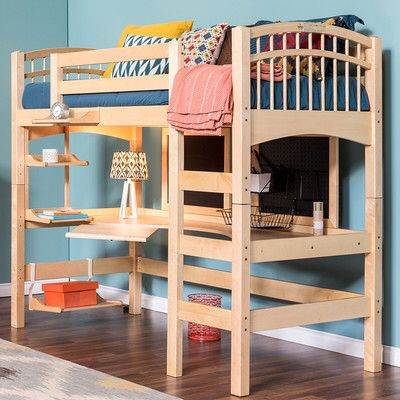 Mckenzie Loft Bed - this one might work best because ladder is flush. Nice desk setup also.