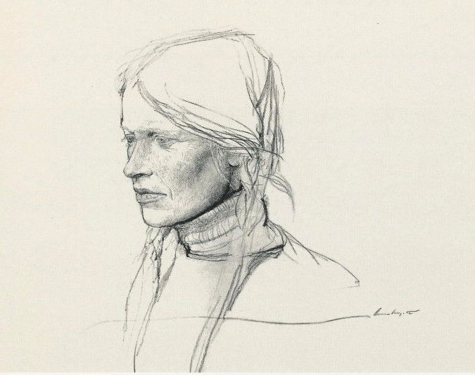 Andrew Wyeth, pencil sketch for the painting Braids, 1979