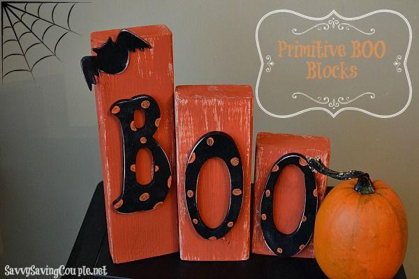 Frugal Halloween DIY: Primitive Wooden Boo Blocks #halloween #primitive #DIY Halloween Decor #Frugal Halloween Wooden Blocks