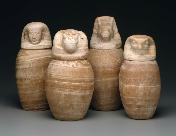 Dark yellow-brown travertine canopic jars. Late Period–Hellenistic Period (Ptolemaic Period). 664–30 B.C. | Museum of Fine Arts, Boston