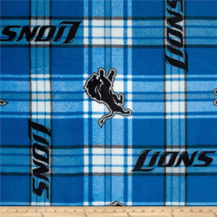 NFL Detroit Lions Plaid Fleece Blue/White from @fabricdotcom  Cheer on the Detroit Lions, your favorite NFL team with this NFL fleece! With an anti-pill face this soft, warm and cozy fleece is perfect for throws, stadium blankets, seat cushions, hats, scarves, pillows, vests, pullovers and much more.