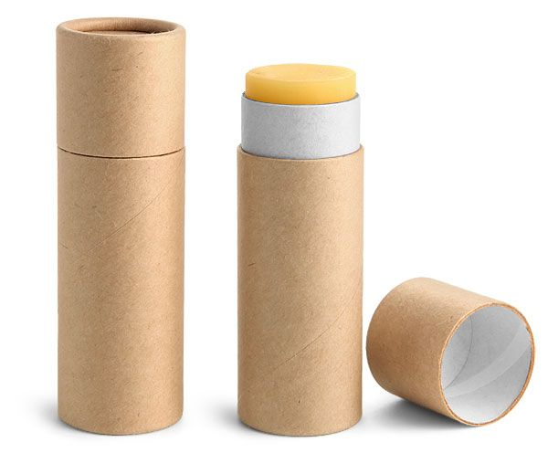 ||| ECO packaging! Paperboard Containers, 1 oz Brown Paperboard Push Up Lip Balm Tubes