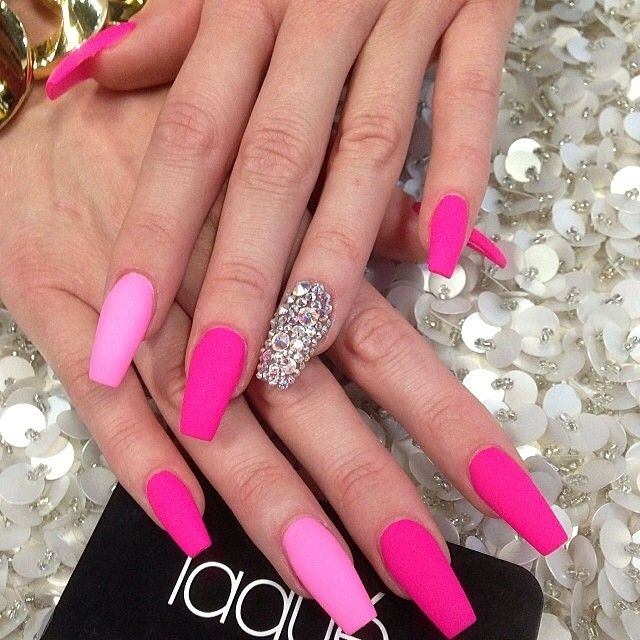 Full set matte with Swarovski $40 #laquenailbar - @laquenailbar- #webstagram