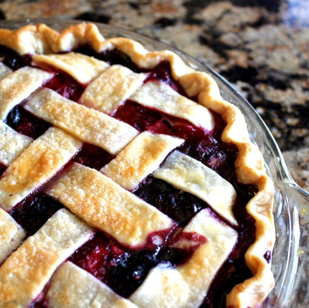 Triple Berry pie with Lattice Top from Jamie Cooks It Up! It's a lot easier than you think!
