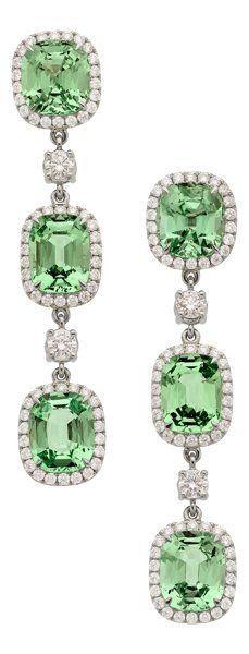 Estate Jewelry:Earrings, Garnet, Diamond, Platinum Earrings. ... (Total: 2…