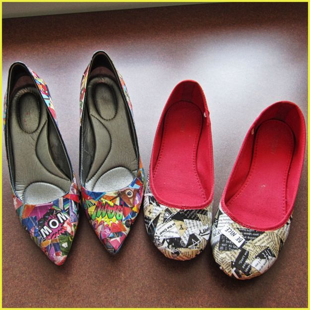 Collaged shoes take and make a craft project for adults Summer craft ideas for adults