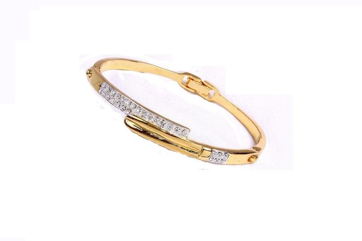 Sabia Souq Designer Openable Bangle in AAA Quality Austrian Stones with 22k Gold Plated for Women & Girls