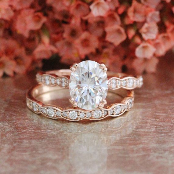 Forever One Moissanite Solitaire Engagement Ring and Scalloped Diamond Wedding Band Bridal Set in 14k Rose Gold 9x7mm Oval Cut Gemstone Ring