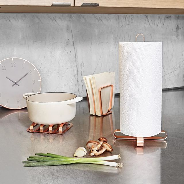 Umbra PULSE Trivet, Napkin Holder and Paper Towel Holder in copper finish.  Design by David Green & Eugenie De Loynes  #umbra