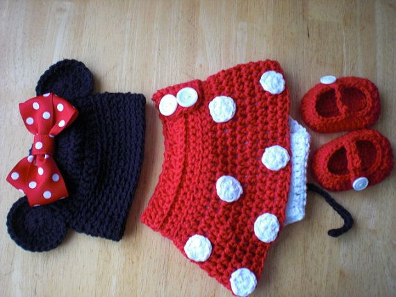 Minnie Mouse hat, diaper cover and shoes: Mice, Idea, Stuff, Minnie Mouse, Crochet Baby, Baby Girl, Kids, Diaper Covers