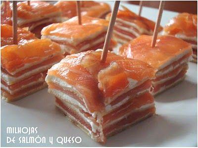 Milhojas de salmón con queso y crêpes