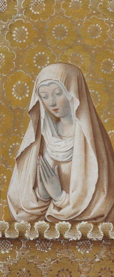 """(detail) Manuscript illuminator Jean Bourdichon and his atelier, ca. 1475-1500, """"Vierge en oraison"""", """"Heures de Charles VIII"""", France."""