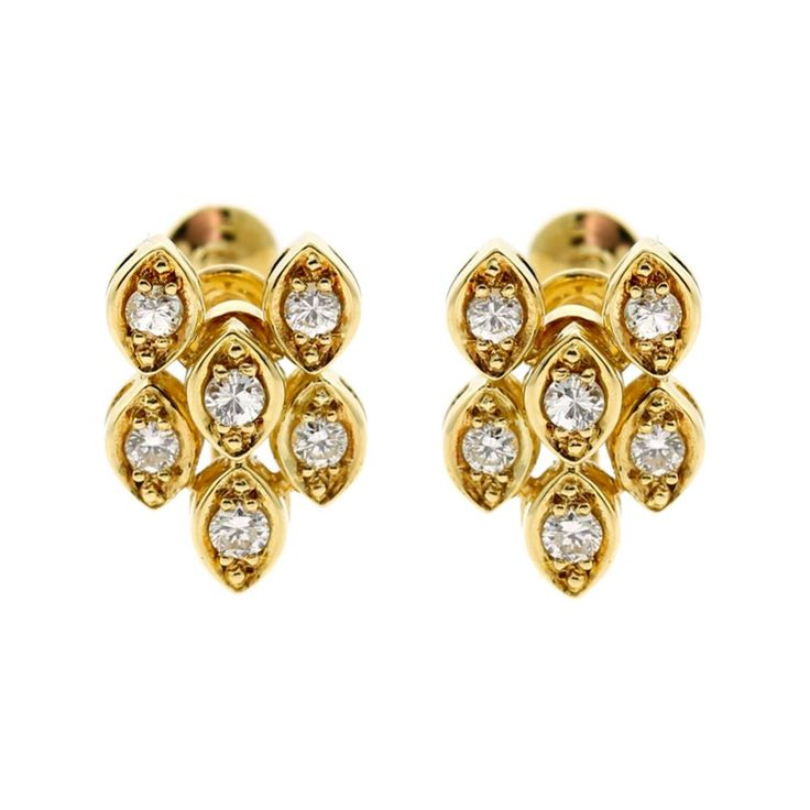 Dior Diamond Gold Earrings   Opulent Jewelers