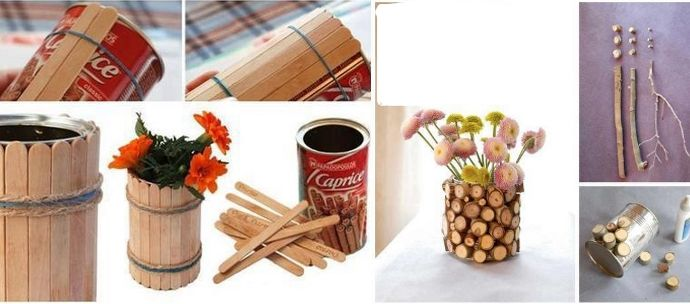 Decorar latas recicladas con madera y palillos diy - Reciclar para decorar ...