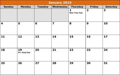 January 2015 Calendar with Holidays | January 2015 Calendar Template