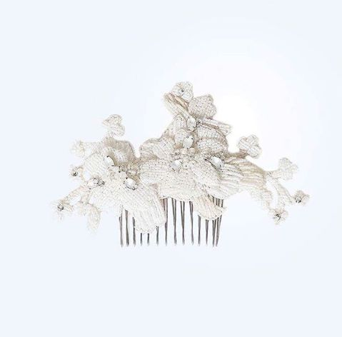 a.b.Ellie hand crafted hair comb. Embellished with ivory beads and opaque crystals.