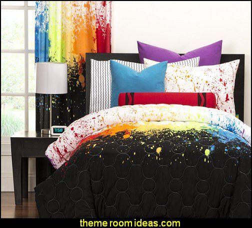 splatter paint bedroom ideas bedding splattered painted wall azing black